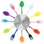 renkli çatal kaşık mutfak saatleri