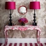 fuşya pembe oturma odası dekorasyon fikirleri