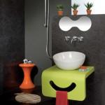 kale boo akrilik yeşil pembe çocuk banyo dolabı